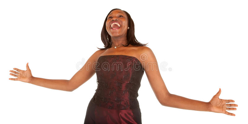 African American Woman Overjoyed about Something royalty free stock image
