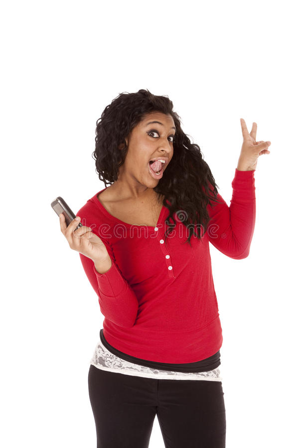 Download African American Woman Phone Funny Stock Image - Image: 18614511