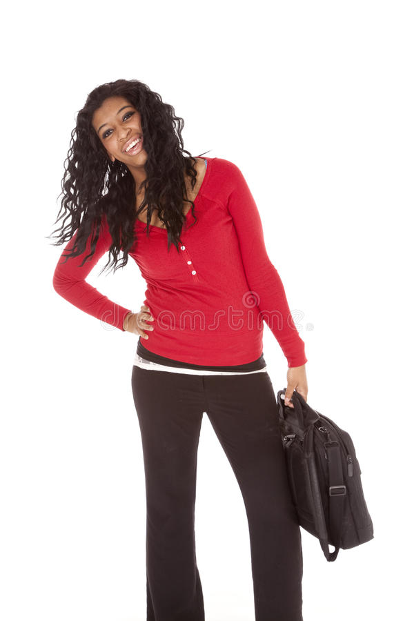 African American woman red bag stock photos