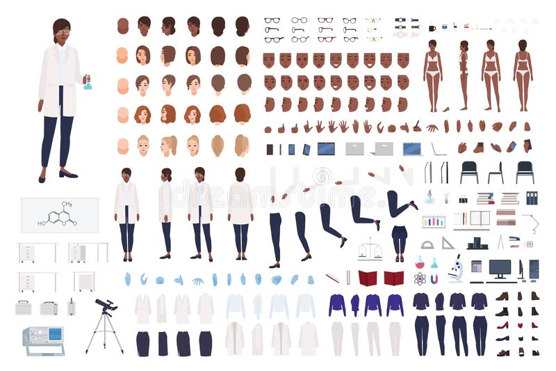 African American woman scientist or scientific worker constructor set or DIY kit. Collection of female body parts and stock illustration