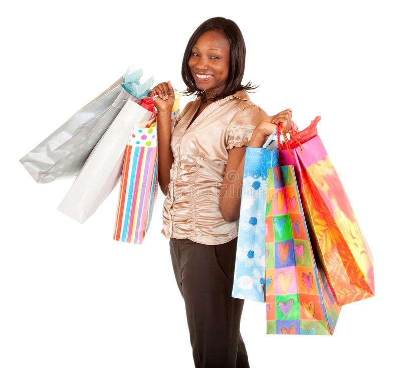 African American Woman on a Shopping Spree stock images