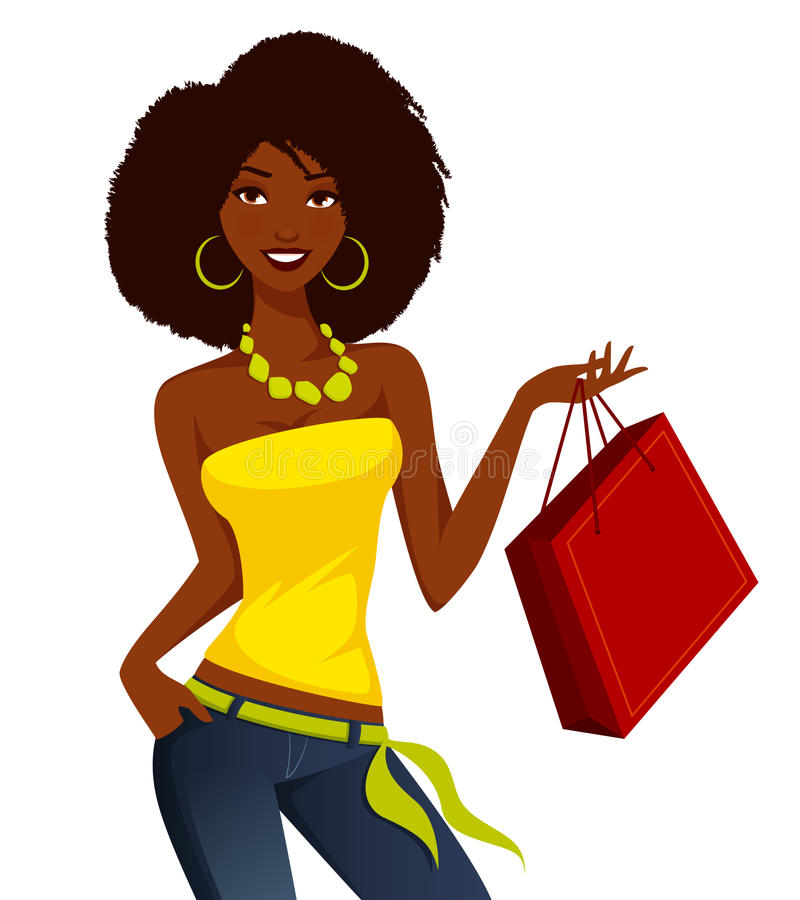 African American Woman Shopping Stock Vector ...