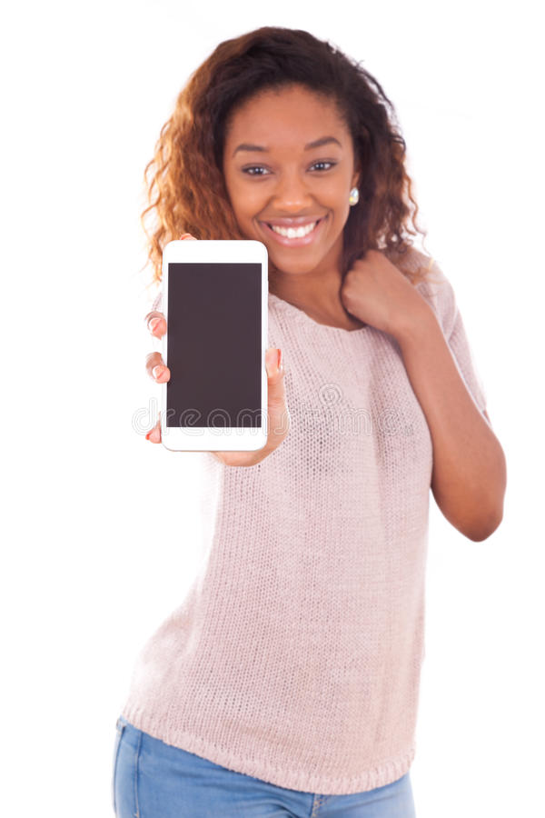 African American Woman showing a mobile phone stock images