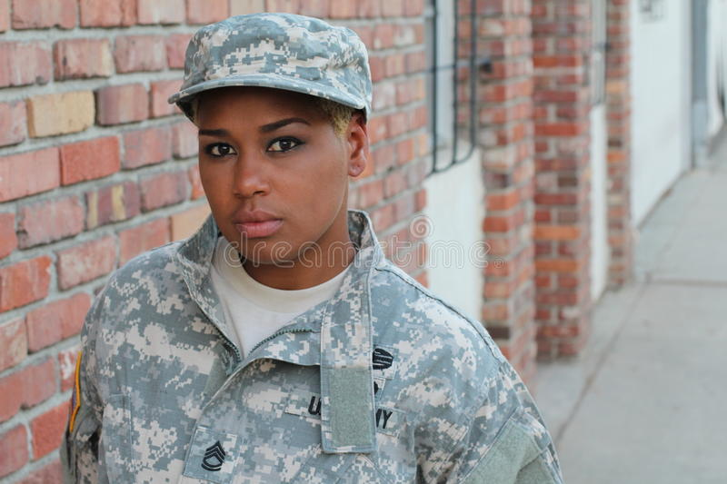 African American Woman Soldier Outdoors royalty free stock photography