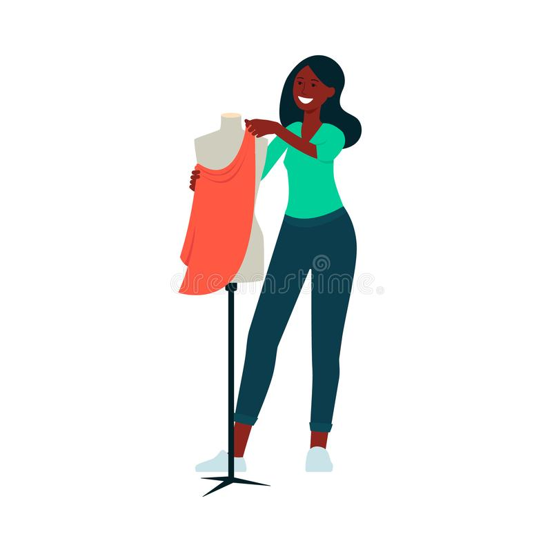African-American woman standing near mannequin and attaching fabric to it cartoon style. Vector illustration isolated on white background. Fashion designer royalty free illustration