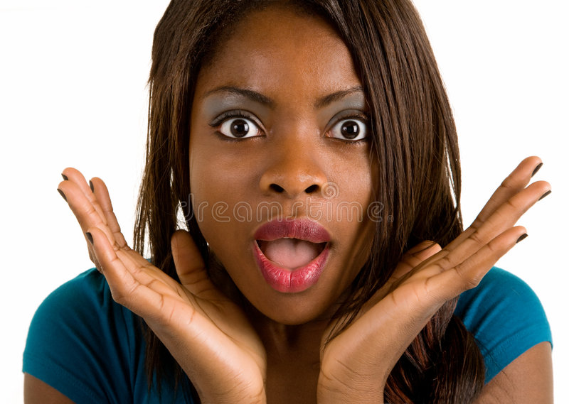 Download African American Woman Surprised About Something Stock Image - Image: 6604905