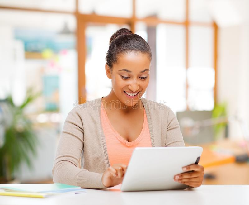 African american woman with tablet computer royalty free stock images