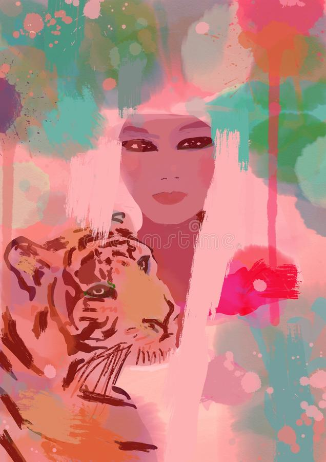 African american woman with tiger royalty free illustration