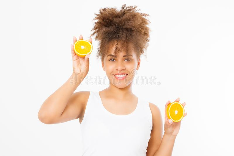 African american woman on white background. Afro girl and diet concept. Copy space. Mock up. Skin care, spa and make up. Beautiful young african american woman stock photos
