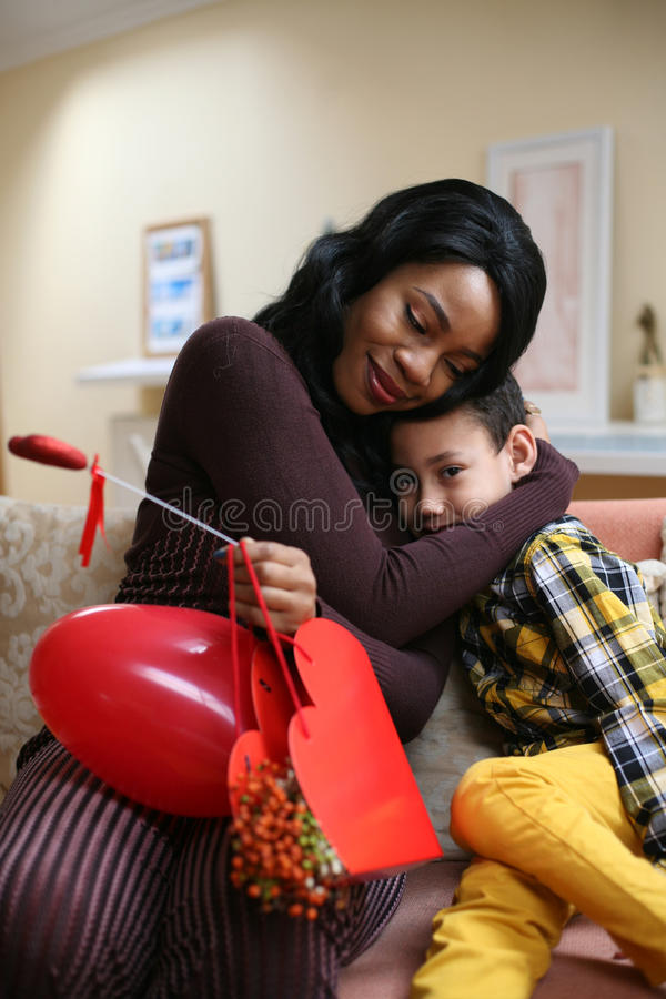 African American woman wit her son. royalty free stock photography