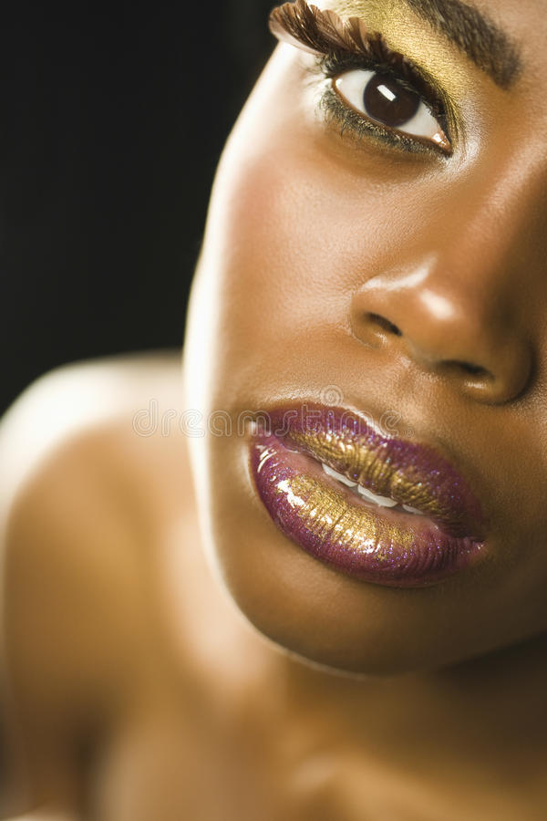 Free African American Woman With Highfashion Makeup Royalty Free Stock Images - 33897149