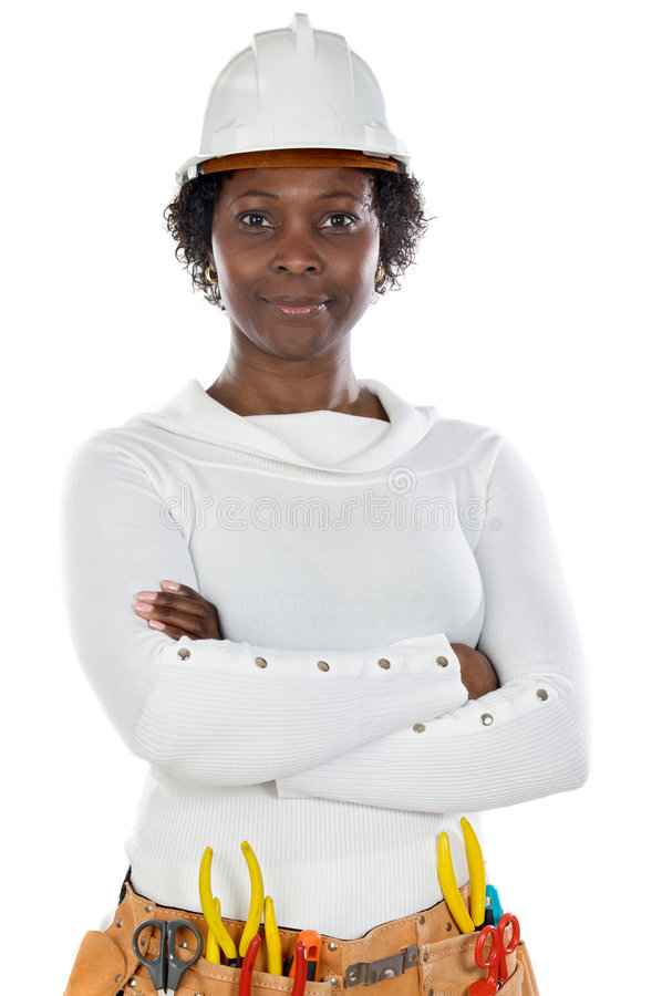 African american woman worker. With helmet and tools a over white background stock image