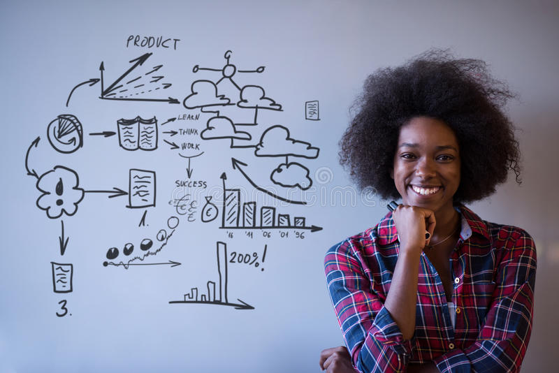 African American woman writing on a chalkboard in a modern office royalty free stock image