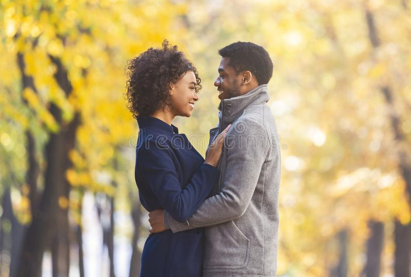 African american young couple cuddling in autumn park royalty free stock photos