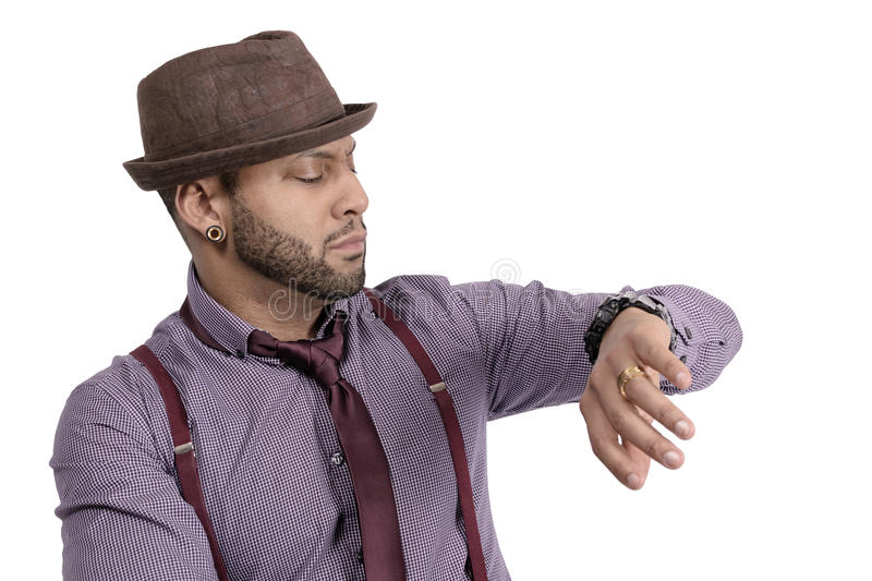 Download African American Young Man Fashion Model In Hat Stock Image - Image of cool, face: 39504925