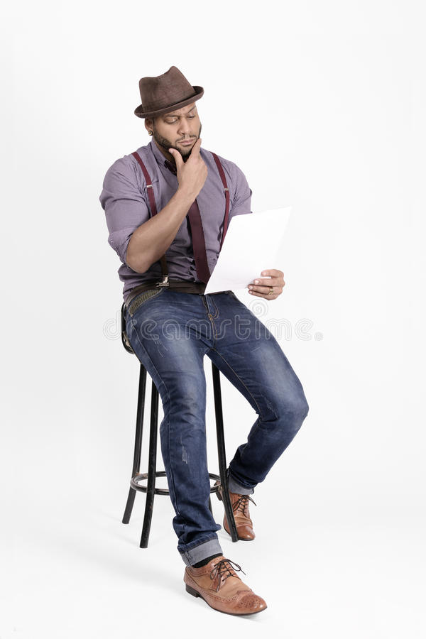 Download African American Young Man Fashion Model In Hat Stock Photo - Image of document, brown: 39504958