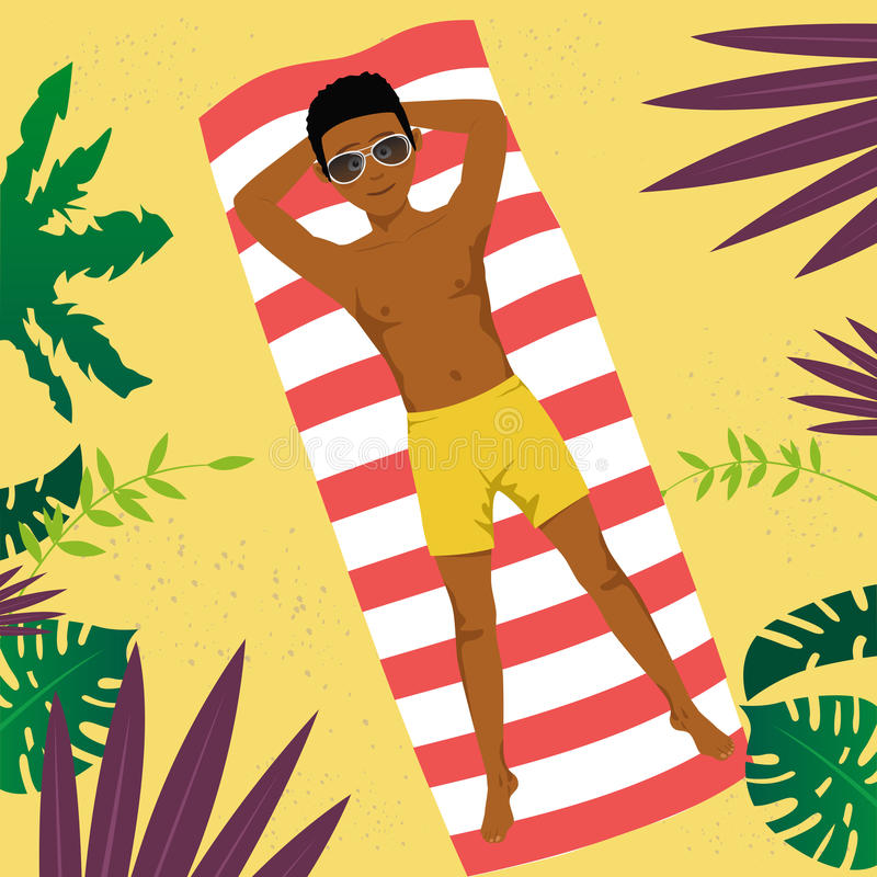African american young man lying on a towel at tropical beach. Top view vector illustration