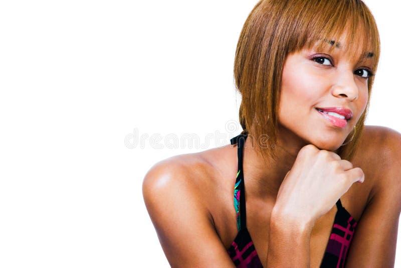 African-Americanfrauenlächeln stockfotos