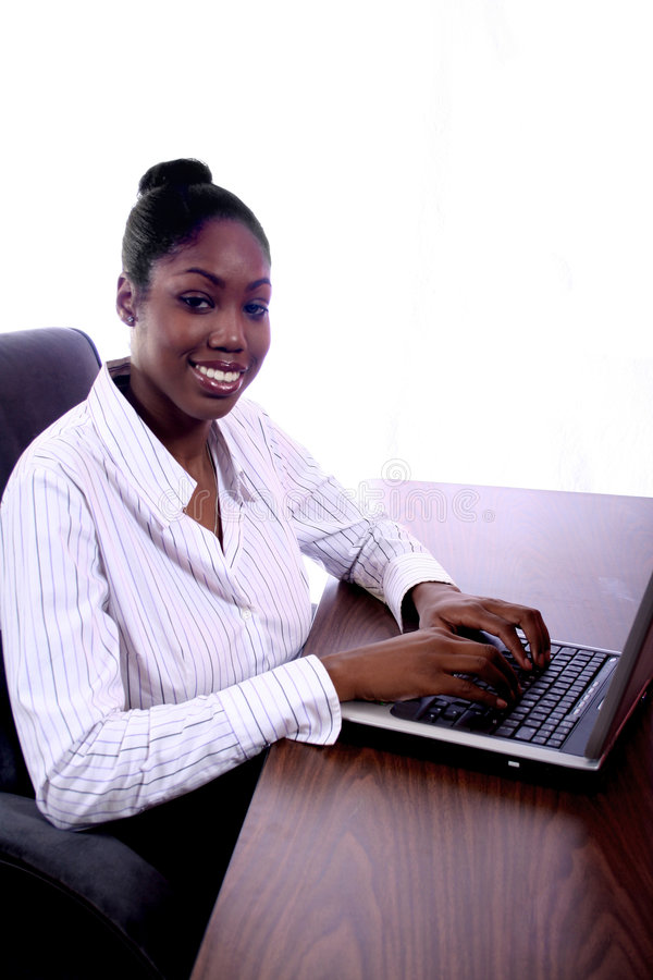 African Amrican Woman With Computer Royalty Free Stock Photos