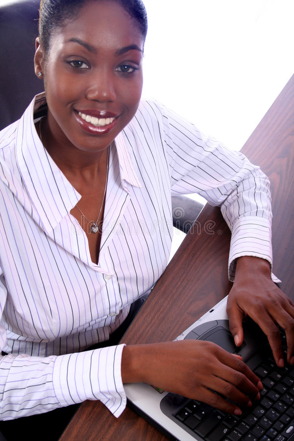 Download African Amrican Woman With Computer Stock Image - Image: 813565