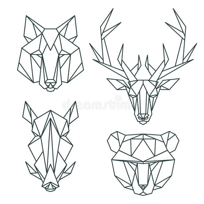 African animal icons, vector icon set. Abstract triangular style. Vector illustration stock illustration