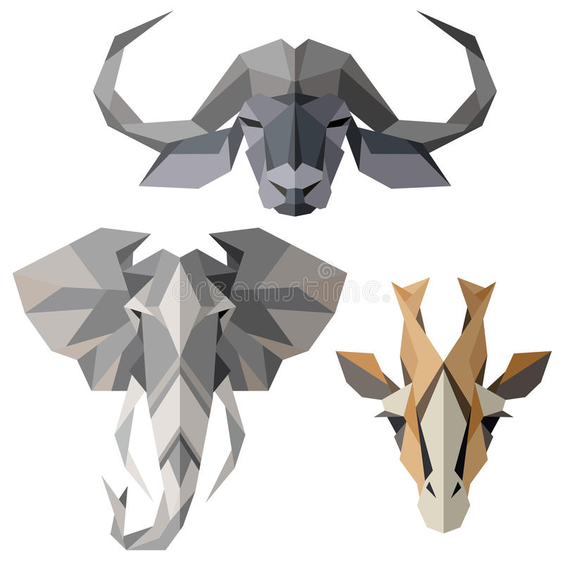 African animal icons, vector icon set. Abstract triangular style. Isolated on white vector illustration