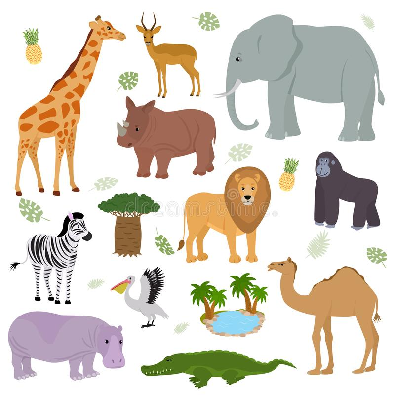 African animal vector wild animalistic character elephant giraffe gorilla mammal in wildlife Africa illustration set of. Hippo lion zebra camel in national stock illustration
