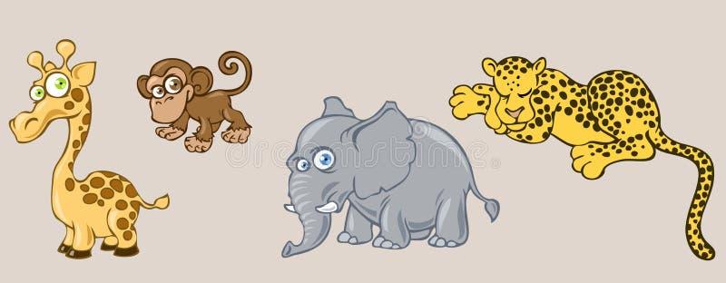 African animals. Illustration of funny cartoon african animals royalty free illustration