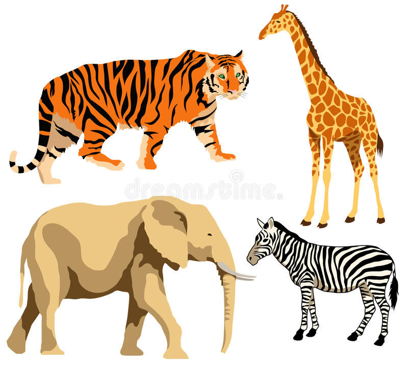 Download African animals stock vector. Image of animal, elephant - 24181300
