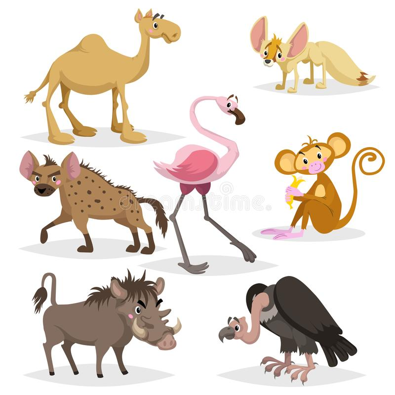 African animals cartoon set. Dromedary camel, vulture, flamingo, hyena, warthog, monkey with banana and african fox fennec. Zoo wi. Ldlife collection. Vector royalty free illustration