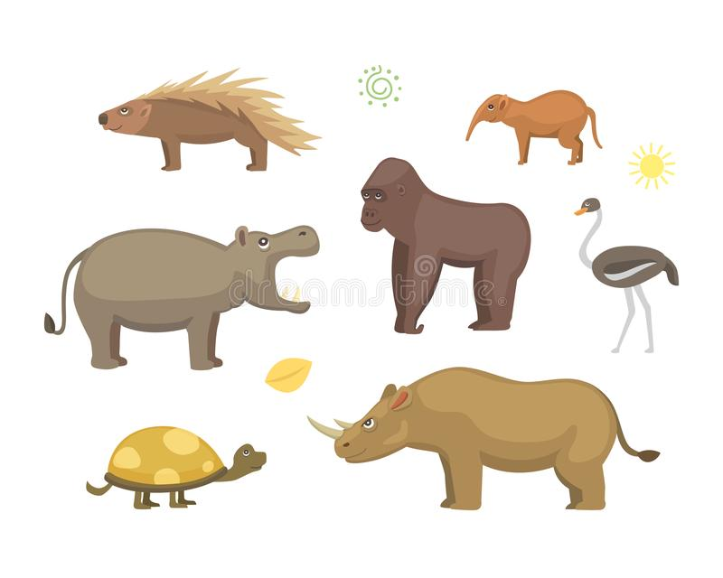 African animals cartoon vector set royalty free illustration