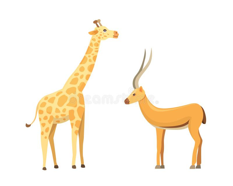 African animals cartoon vector set. Antelope and giraffe. royalty free illustration
