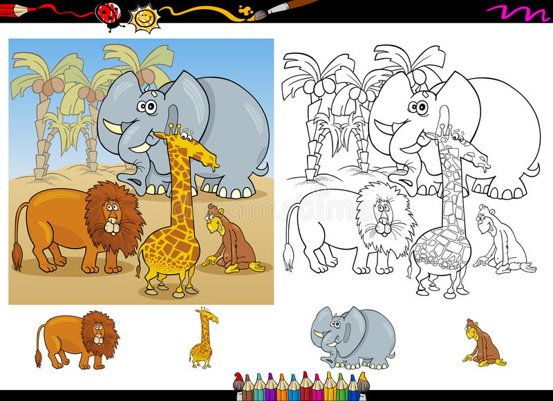 African Animals Coloring Page Set Stock Vector - Illustration ...