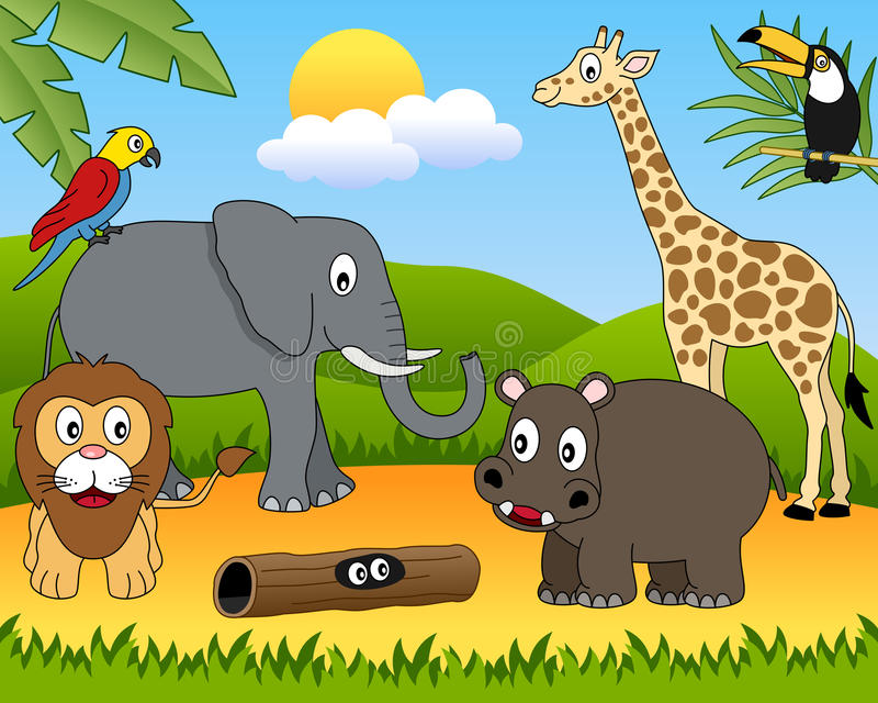 African Animals Group [1]. A funny cartoon scene with african animals in the savanna. Eps file available