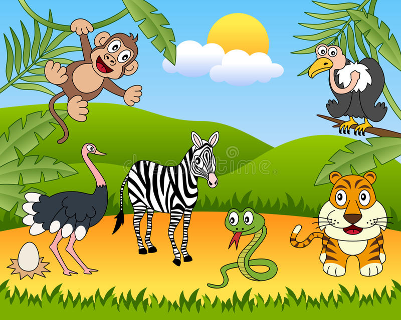 African Animals Group [2]. A funny cartoon scene with african animals in the savanna. Eps file available