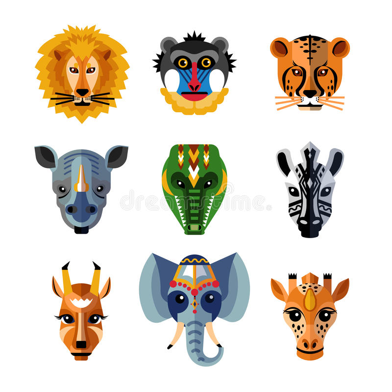 African Animals Heads Masks Flat Icons vector illustration