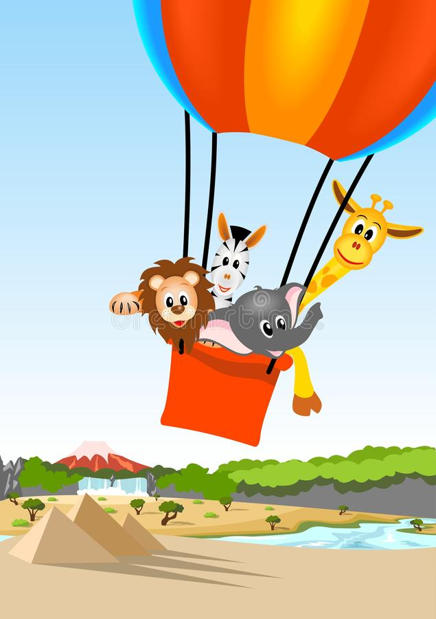 Download African Animals In Hot Air Balloon Stock Vector - Image: 24931742