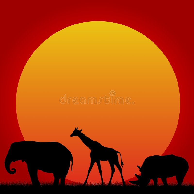 Download African Animals And Hot Sun Stock Illustration - Image: 5621464