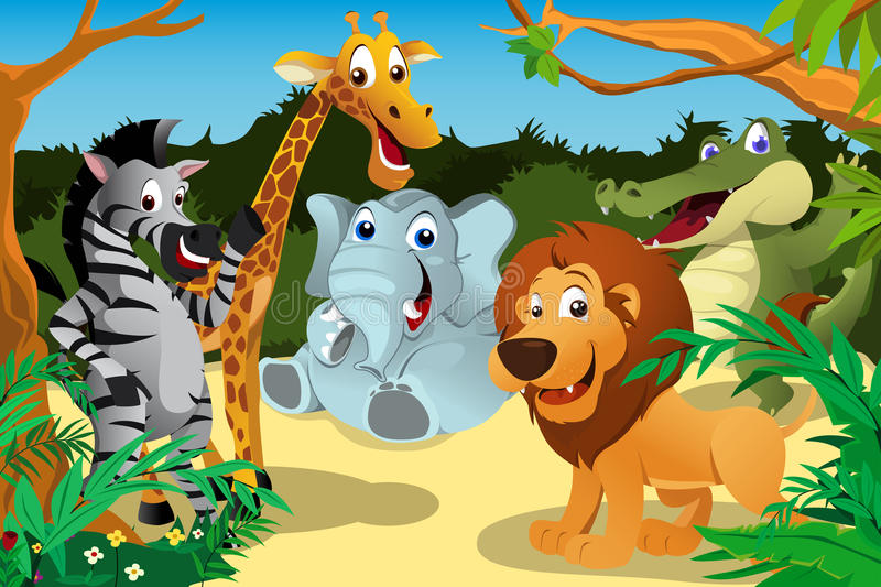 African animals in the jungle stock illustration