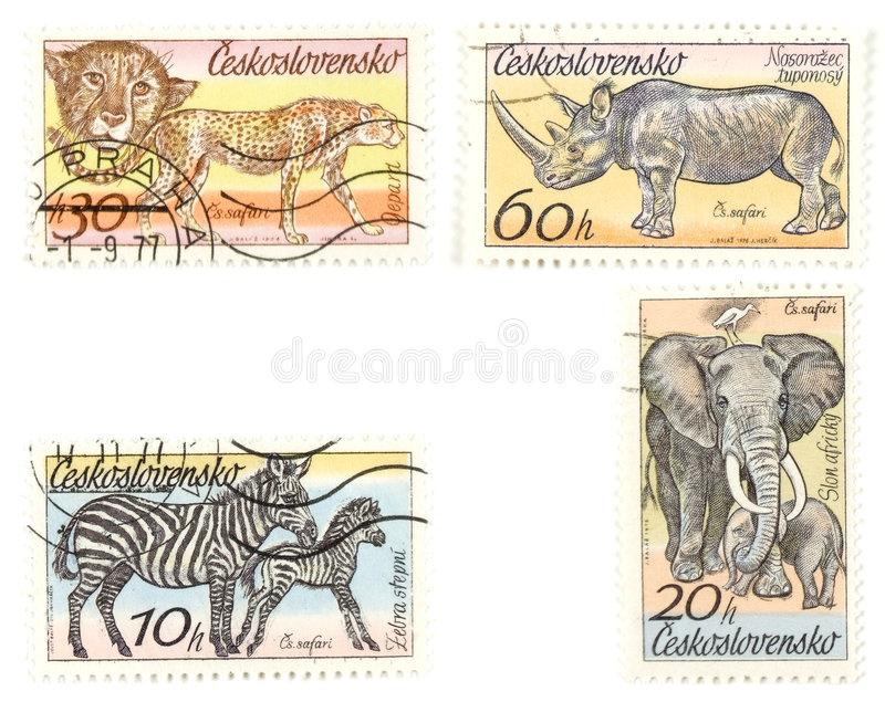 African animals on postage sta. Collectible stamps from Czechoslovakia. Set with wild African animals royalty free stock image