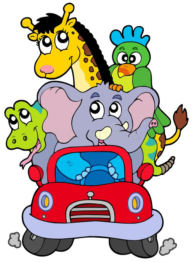 African animals in red car royalty free illustration