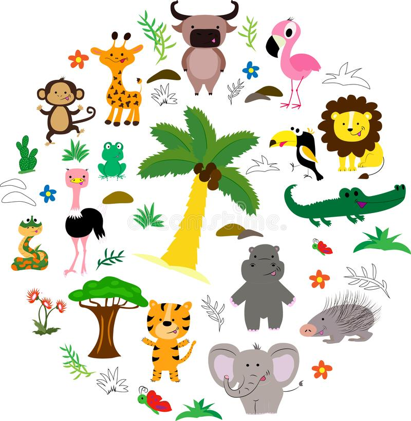 African animals roun set with trees and leaves. Vector illustration. Cartoon style royalty free illustration