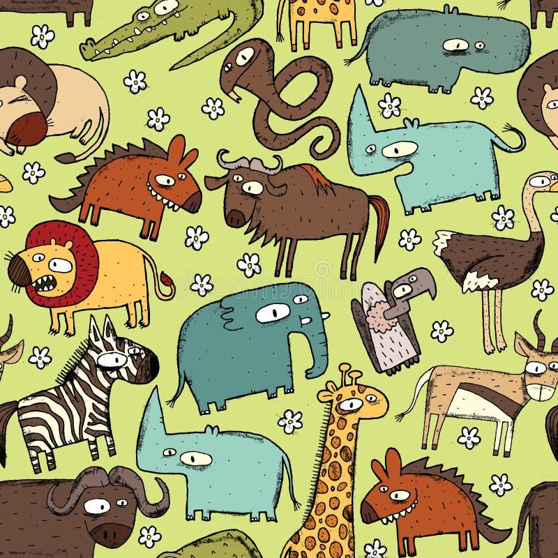 African Animals Seamless Pattern royalty free illustration