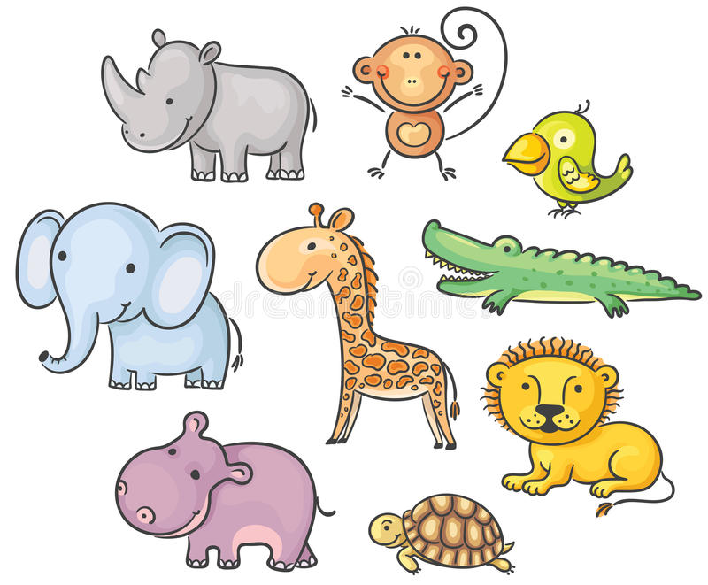 African animals. Set of cartoon African animals royalty free illustration