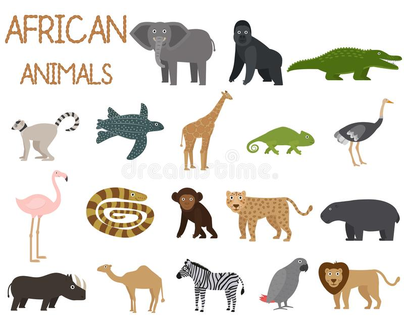 African animals set of icons in flat style, African fauna, elephant, rhino, lion, parrot, etc. vector illustration. African animals set of icons in flat style royalty free illustration