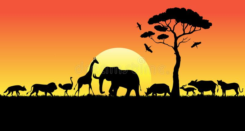 African animals in sunset. Safari animals, African animals in sunset stock illustration