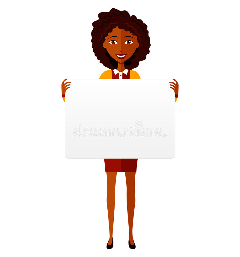 African animation woman holding banner isolated on white background royalty free stock photos