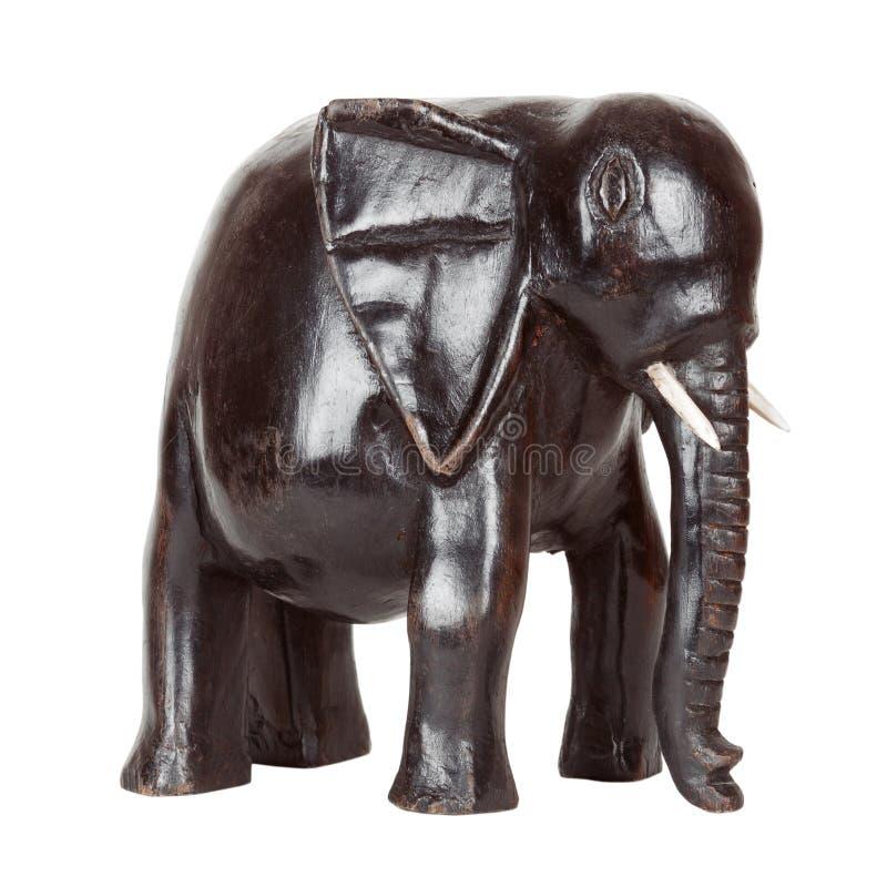African Antique Black Ebony Statue of Elephant stock image