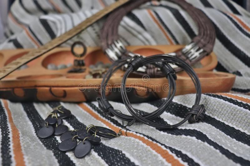 African artifacts and jewelry from Uganda and Nigeria stock image