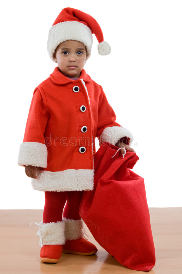 African baby girl with costume of Santa Claus stock photography